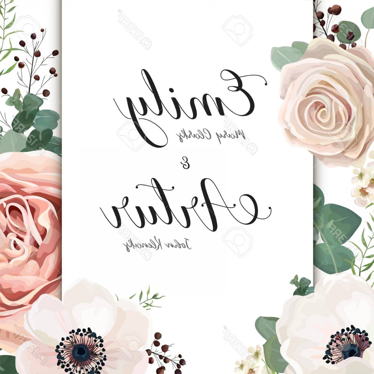 Rustic Wedding Invitation Vector: Photostock Vector Floral Wedding Invitation Elegant Invite Card Vector Design Garden Flower Antique Pink Peach Powder