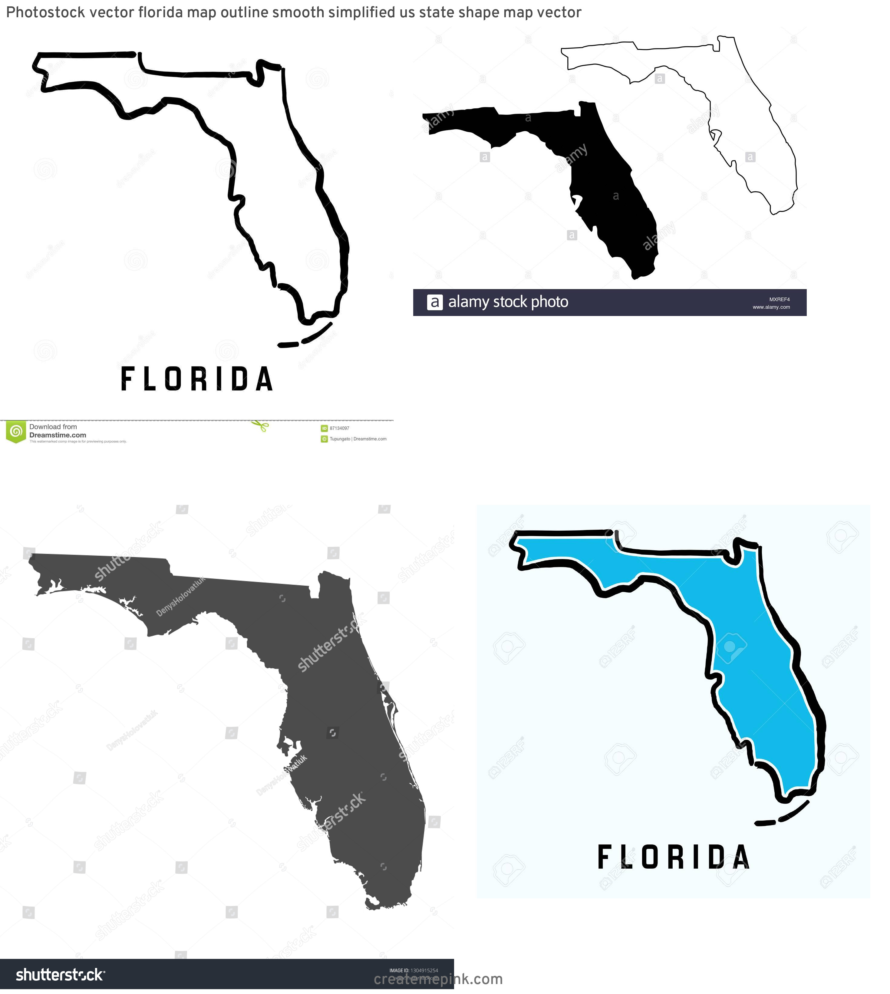 Florida Map Vector: Photostock Vector Florida Map Outline Smooth Simplified Us State Shape Map Vector