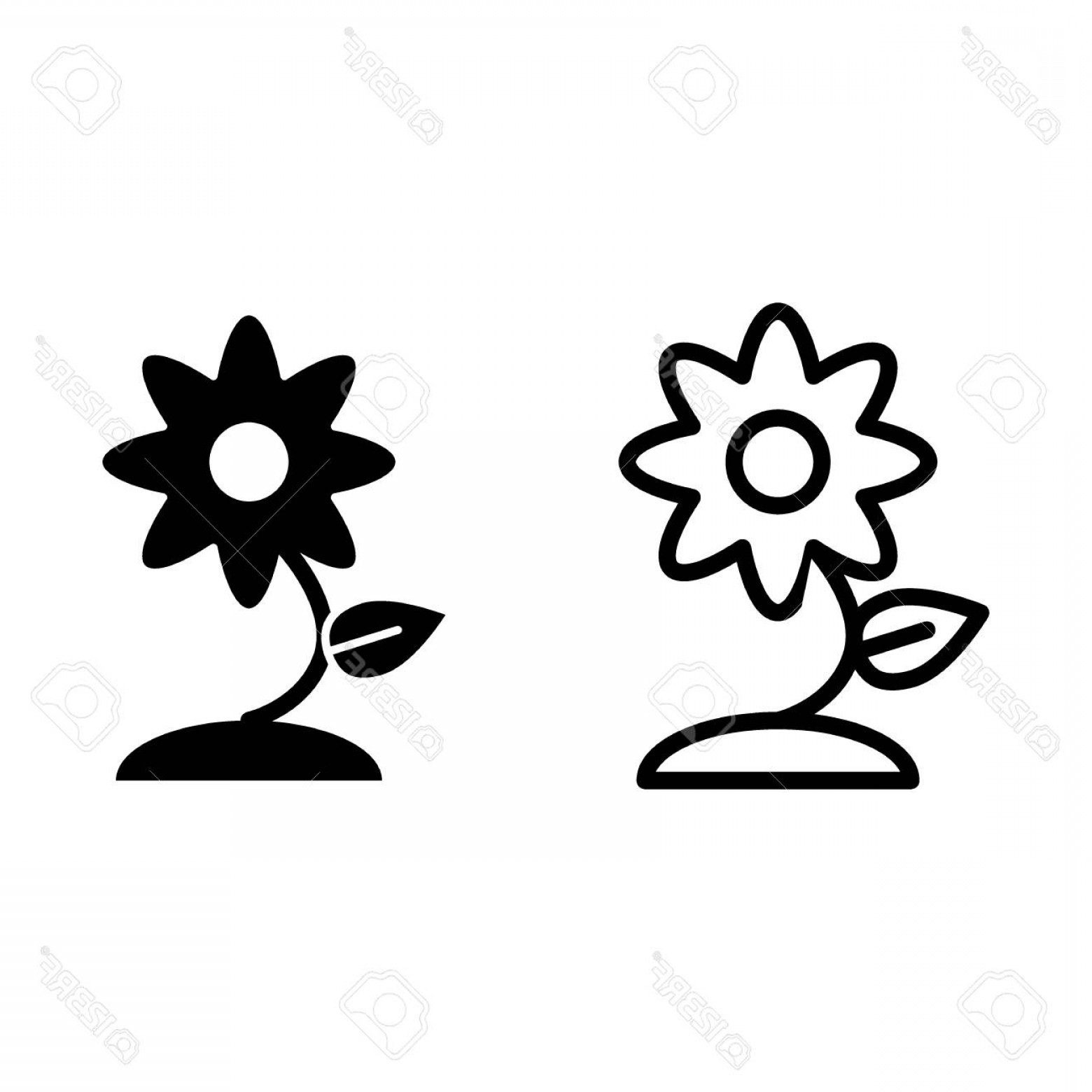 Floral Vector Icon: Photostock Vector Flower Line And Glyph Icon Floral Vector Illustration Isolated On White Plant Outline Style Design D