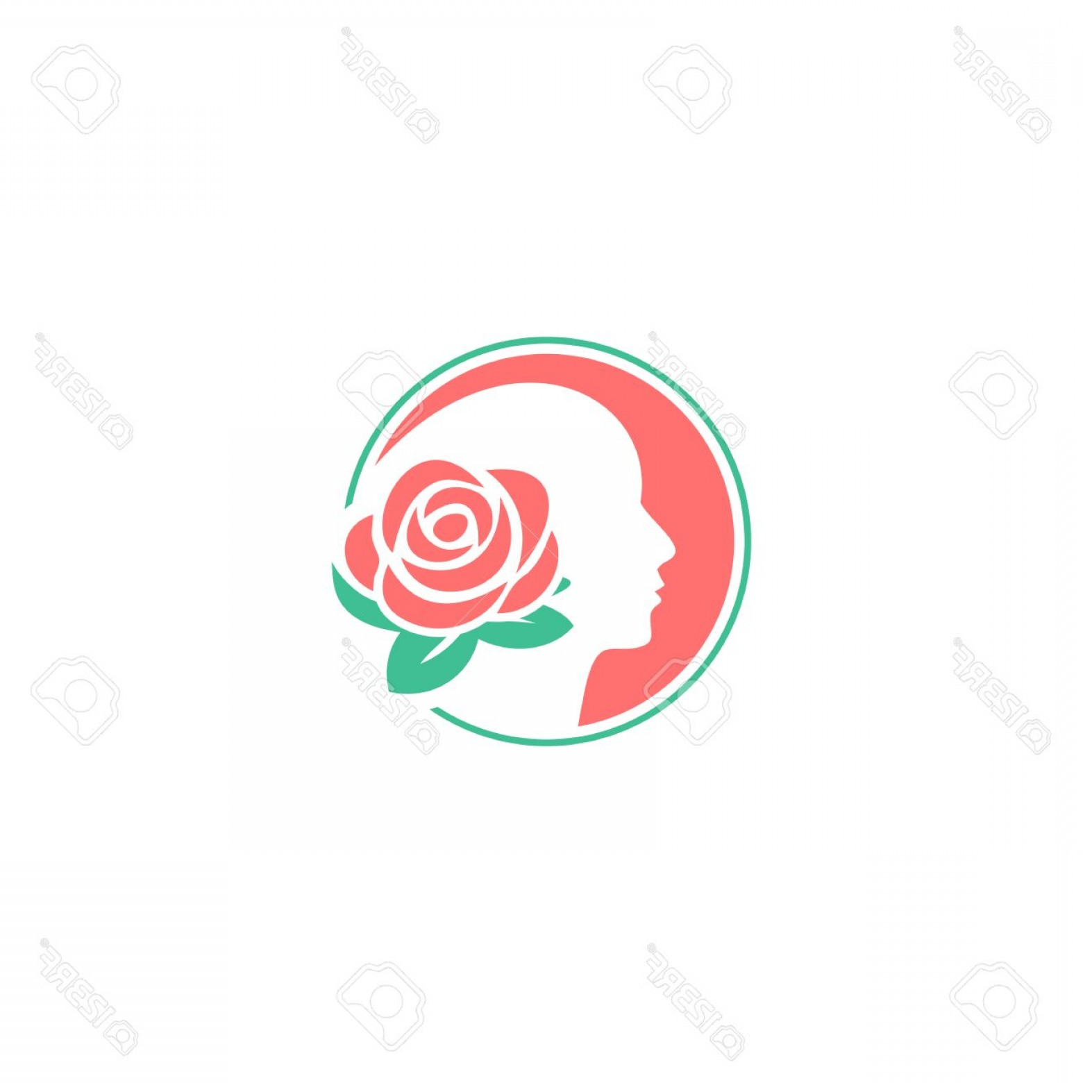 Modern Flower Logo Vector: Photostock Vector Flower Logo Design Template Woman Face Vector Illustration Modern Barbershop Flower Pink Color Logo