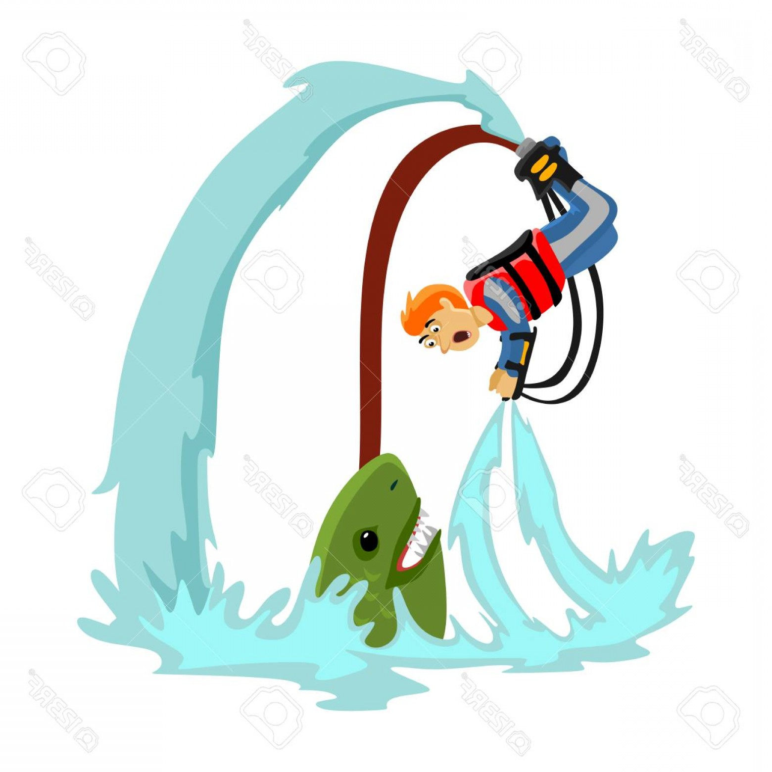 California Lifestyle Vector: Photostock Vector Fly Board Water Extreme Sports Isolated Design Element For Summer Vacation Activity Concept Cartoon