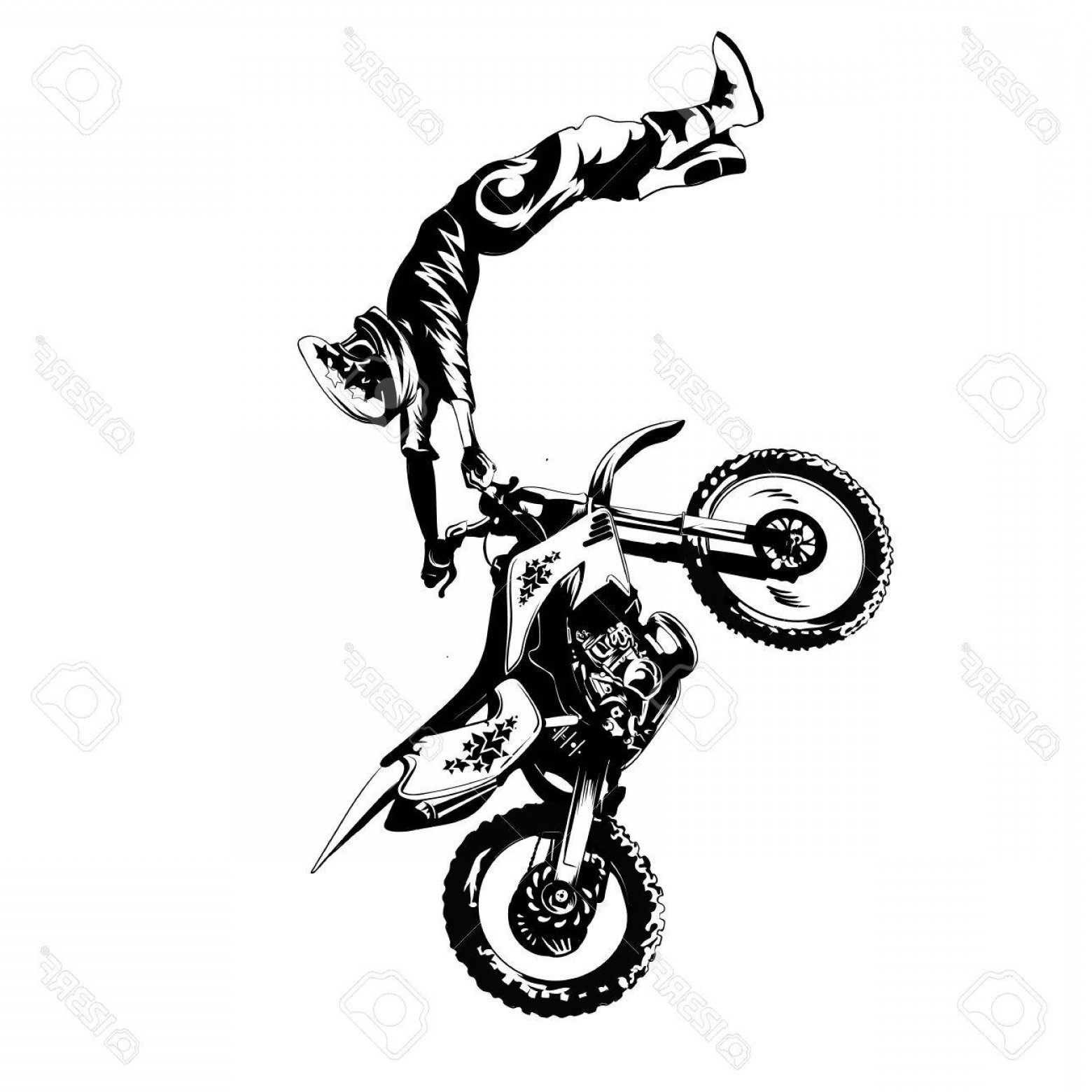Dirt Bike Gas Can Vector: Photostock Vector Fmx Trick Rider On A White Background Isolated Eps