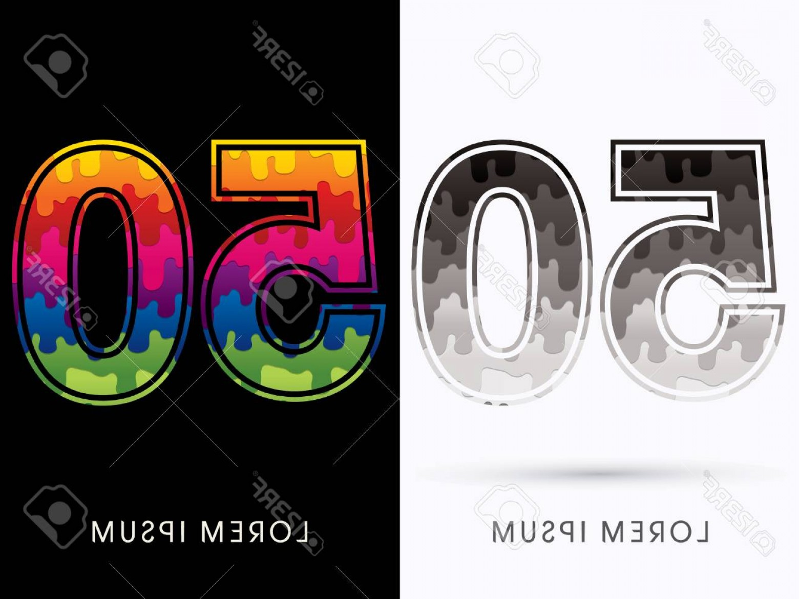 Vector S 50 Pics: Photostock Vector Font Colors And Black Melt Graphic Vector