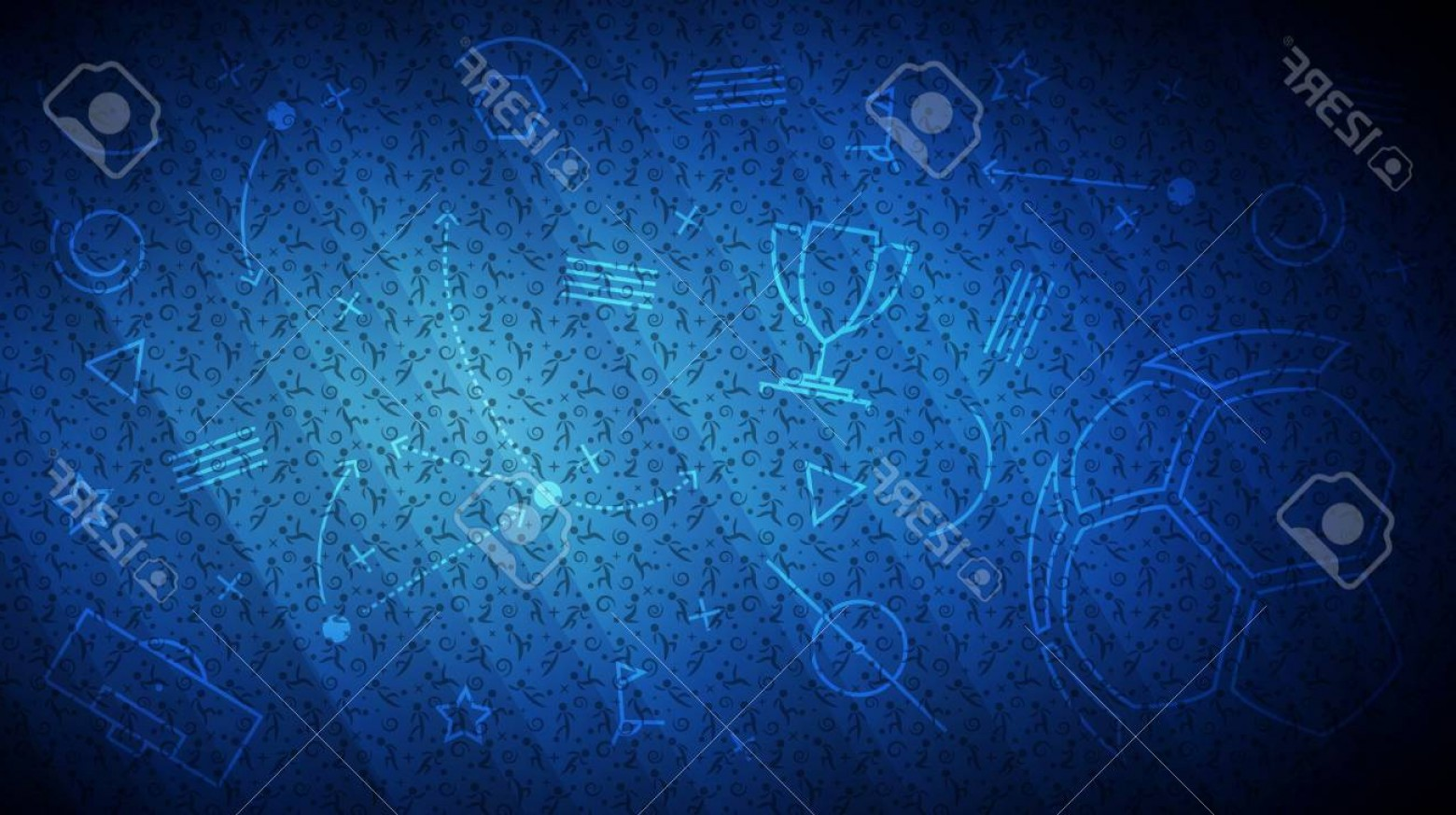 Soccer Blue Background Vector Graphics: Photostock Vector Football Championship Background Vector Illustration Of Abstract Blue Soccer Background With Differe