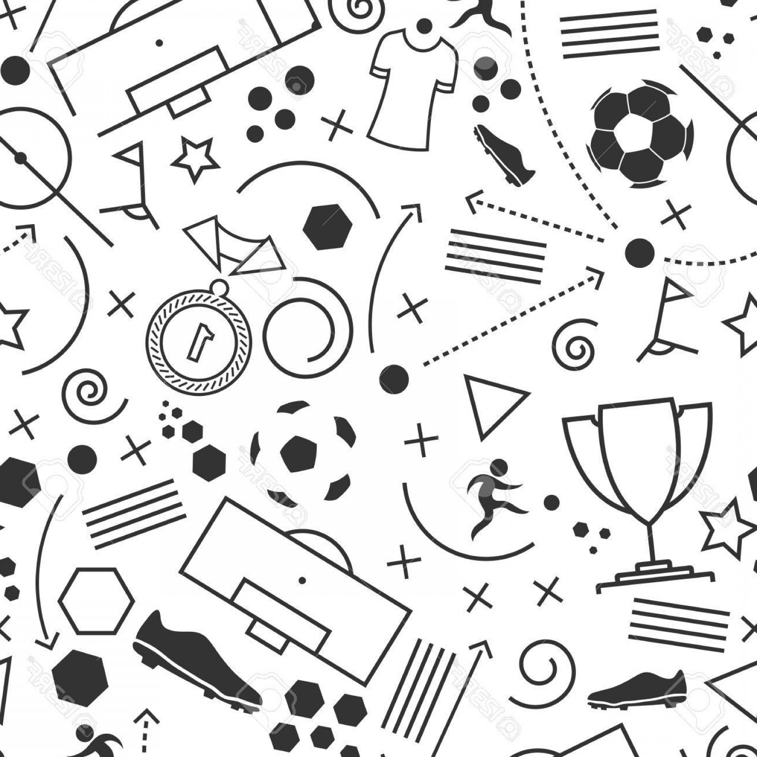 Abstract Football Vector Outline: Photostock Vector Football Icons Set Vector Illustration Of Abstract Seamless Soccer Wallpaper Pattern For Your Design
