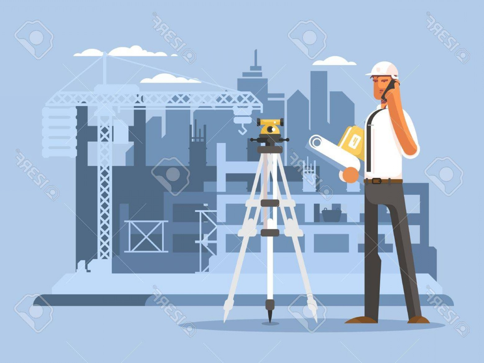 General Contractor Vector: Photostock Vector Foreman On Construction Flat Design Builder Work On Site Engineer Or Contractor Vector Illustration