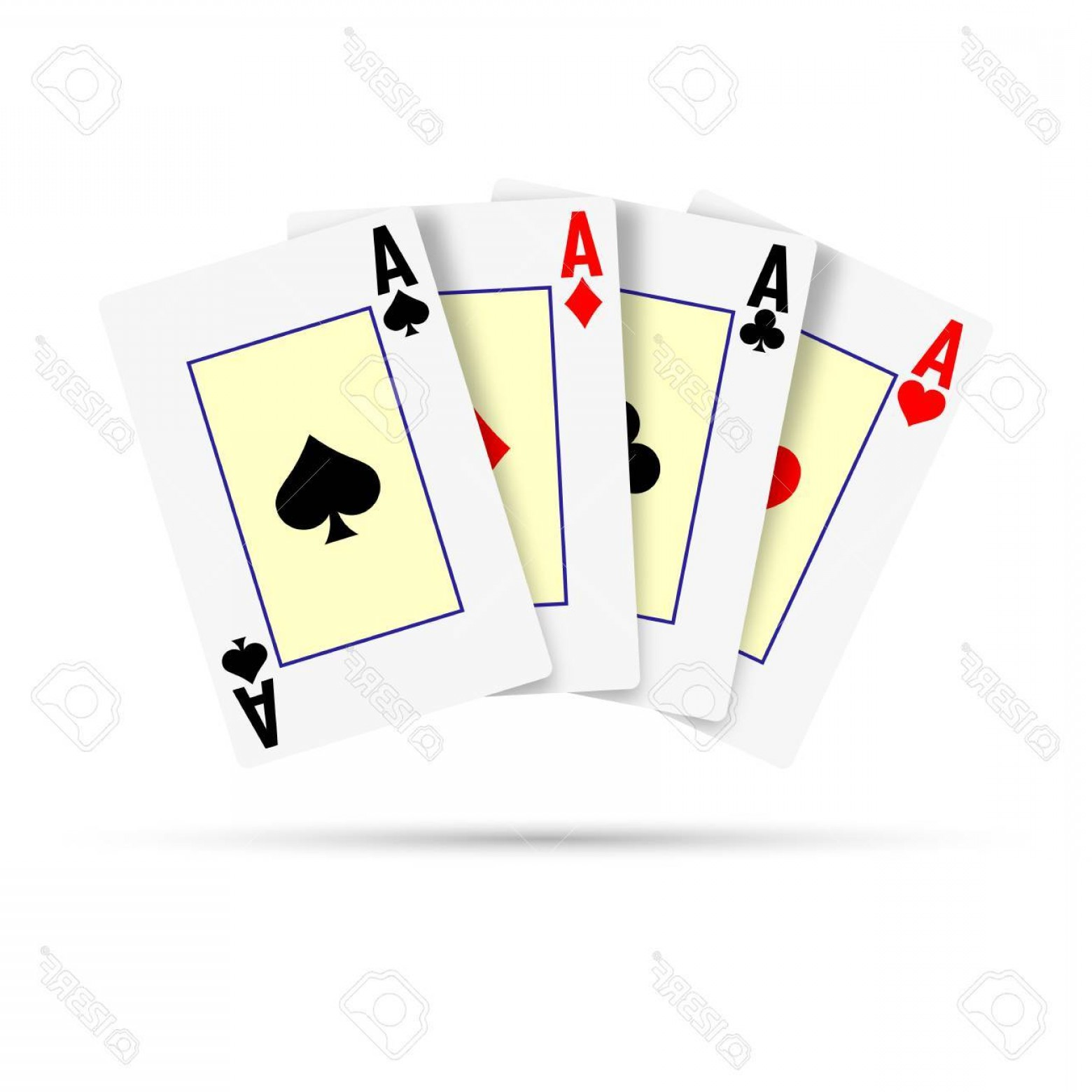 Poker Hand Vector: Photostock Vector Four Aces On A White Background Poker Hand Vector Illustration