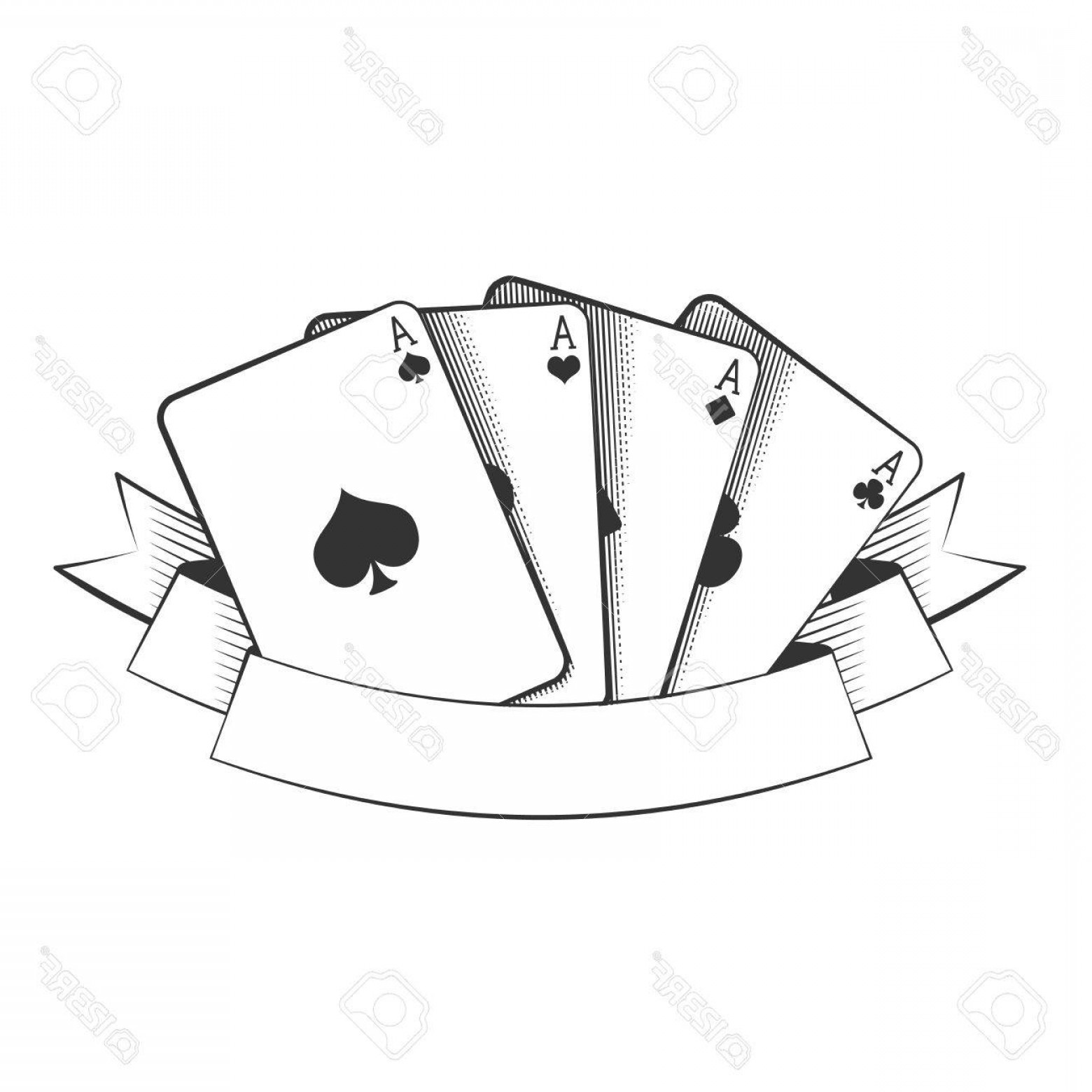 10 Playing Card Vector: Photostock Vector Four Aces Playing Cards Suits On White Excellent Vector Illustration Eps