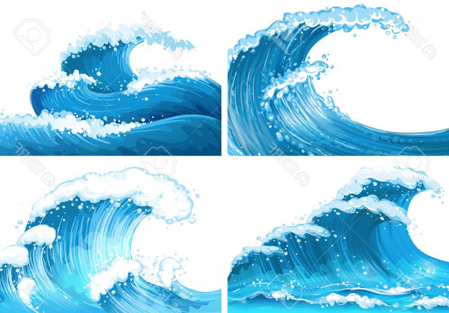 Ocean Wave Vector Illustration: Photostock Vector Four Scenes Of Ocean Waves Illustration