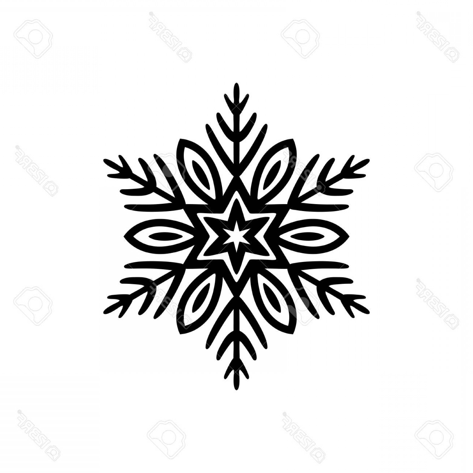 White Snowflake Vector Art: Photostock Vector Free Hand Icon Of A Snowflake Simple Black Vector Illustration On White Background