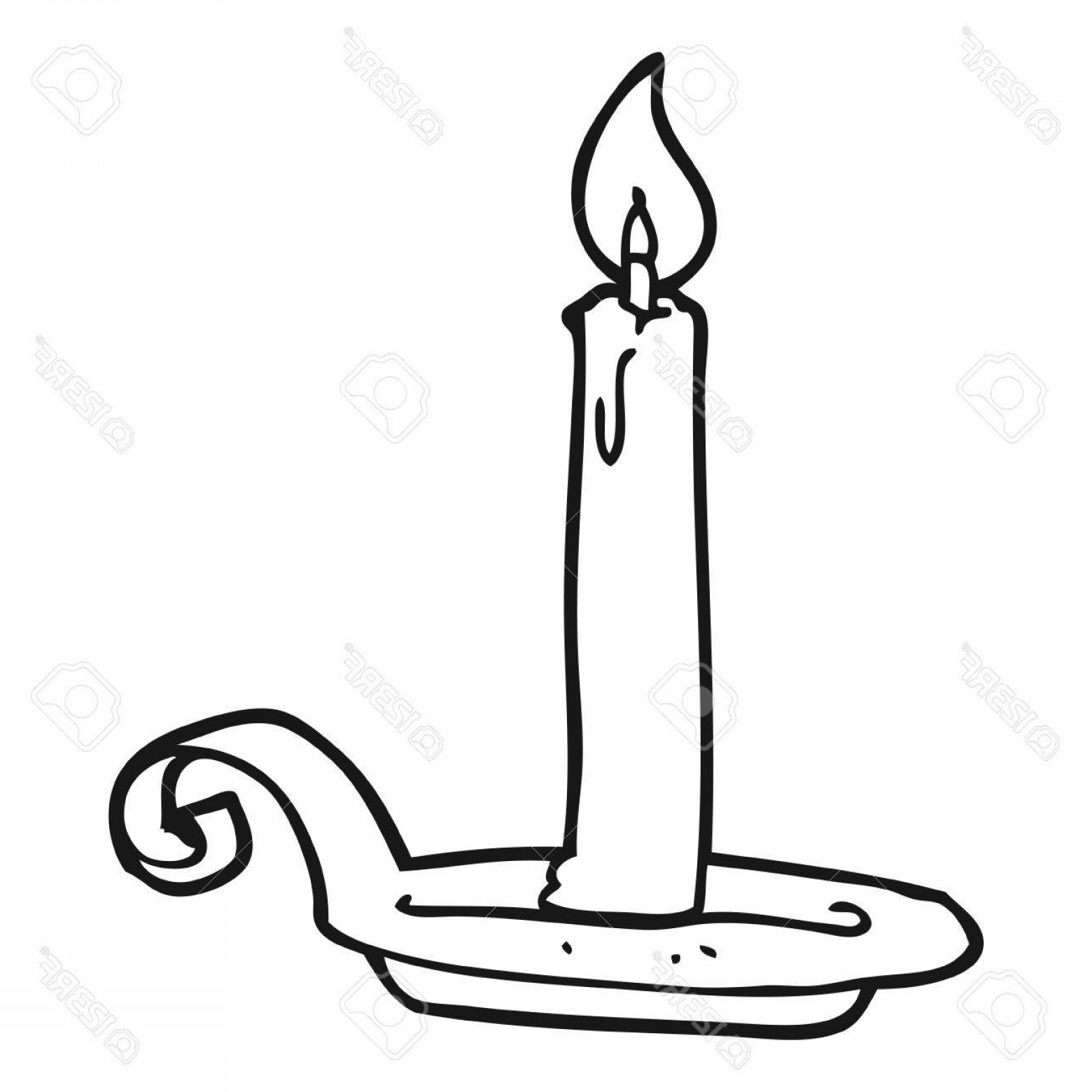 Candle Vector Black: Photostock Vector Freehand Drawn Black And White Cartoon Candle Burning