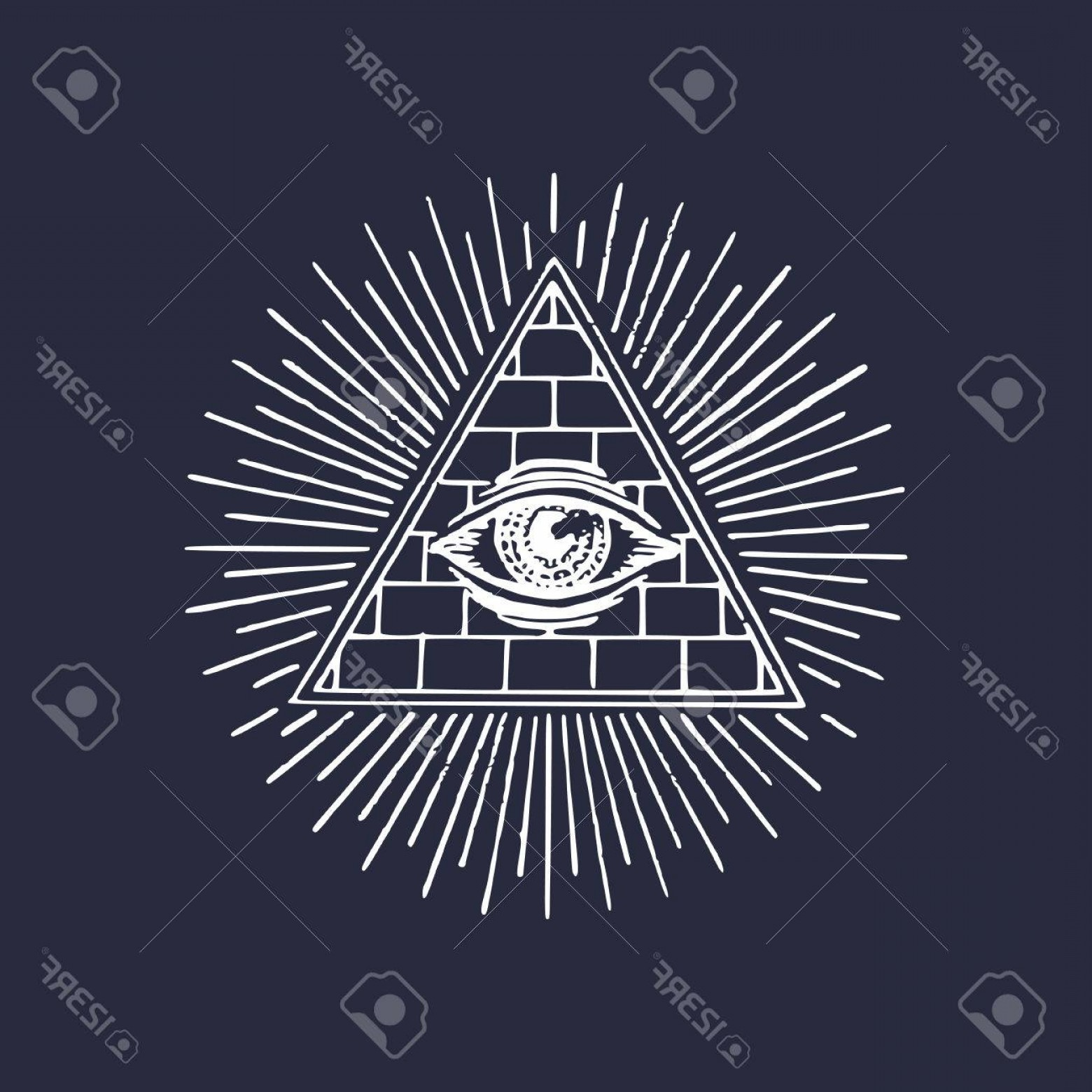 Pyramid With Eye Of Providence Vector: Photostock Vector Freemasonry Pyramid All Seeing Eye Engraving Masonic Logo Vector Eye Of Providence Illustration Symb