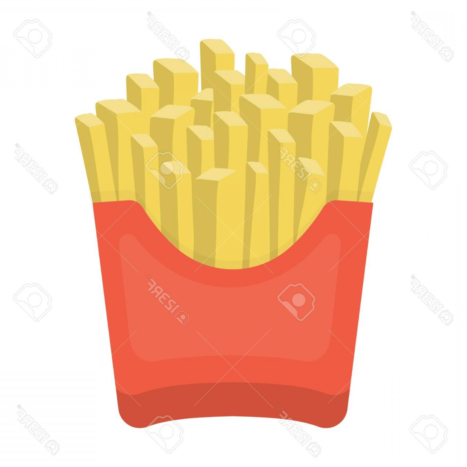 Fries Vector: Photostock Vector French Fries Vector Illustration Icon In Cartoon Design