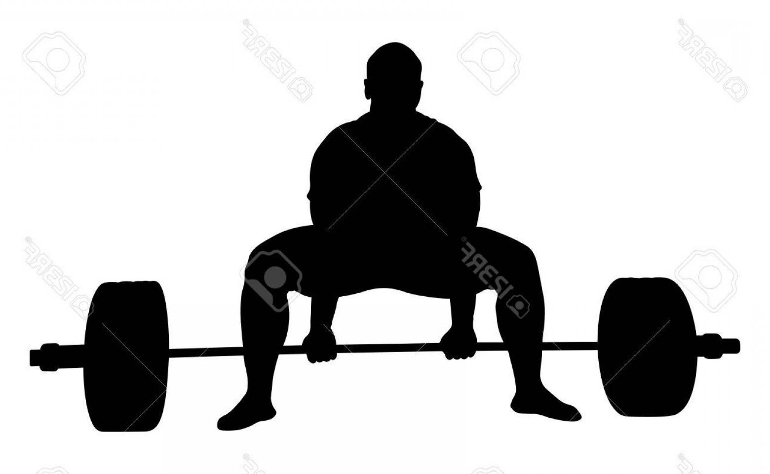 Vector Barbell Press: Photostock Vector Front View Athlete Powerlifter Exercise Deadlift Black Silhouette