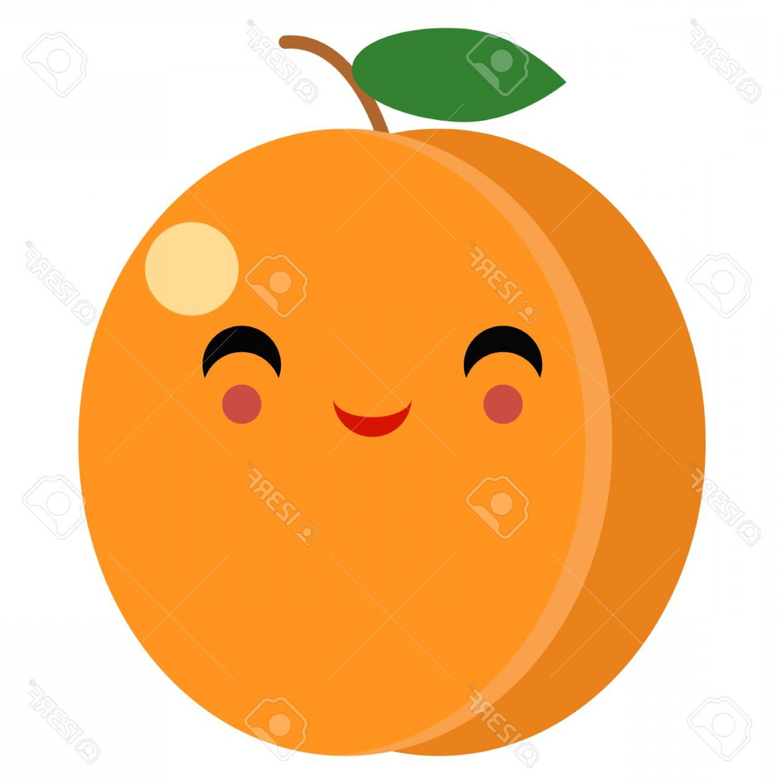 Excited Face Emoji Vector: Photostock Vector Fruit Happy Face Emoji With Smiling Eyes Illustration In Flat Style Design