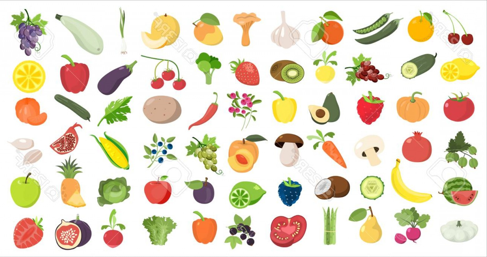 Vector Fruit Vegetable: Photostock Vector Fruits And Vegetables