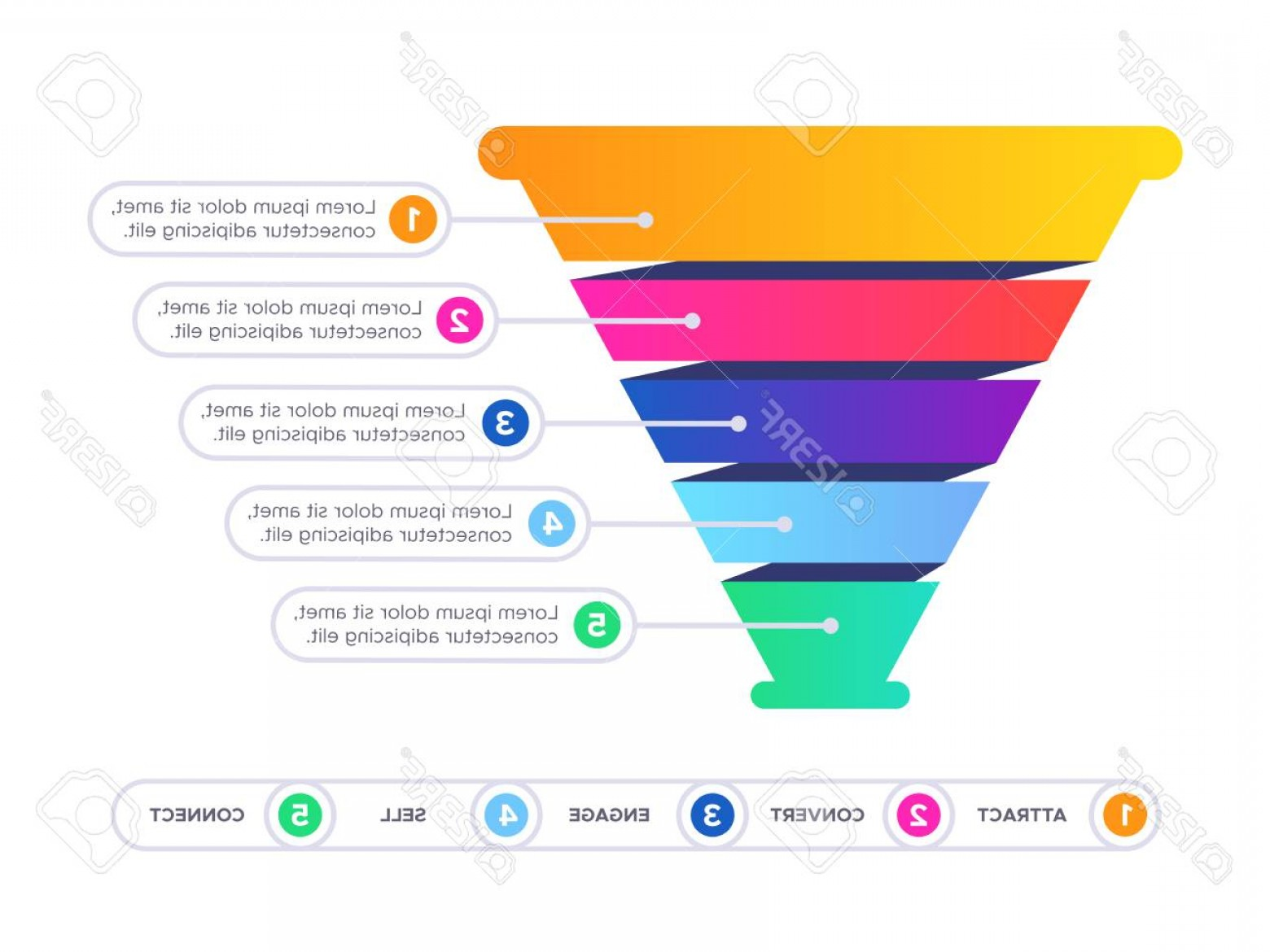 Vector Funnel Infographic: Photostock Vector Funnel Sales Infographic Marketing Conversion Cone Chart Business Sale Filter And Pyramid Graphic In