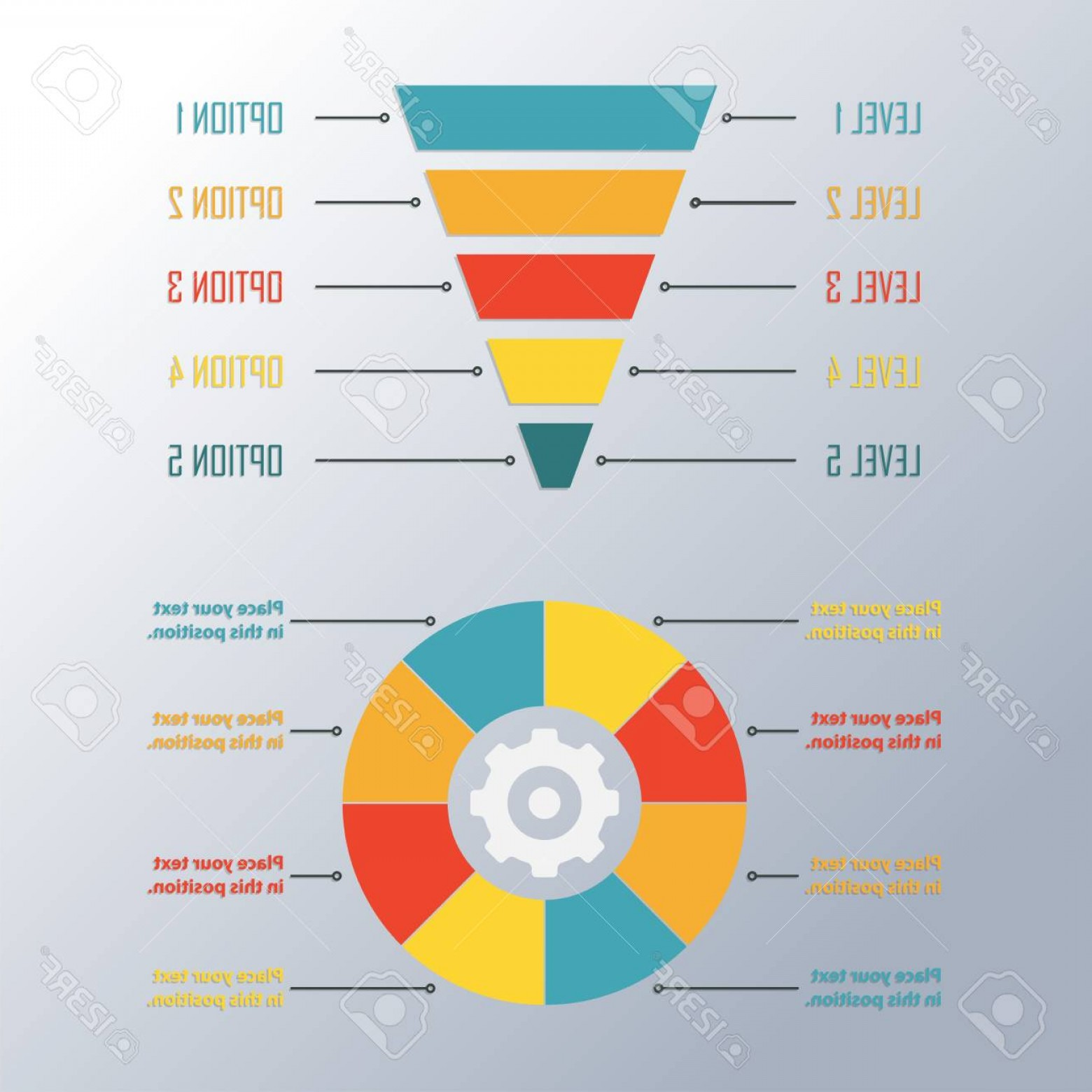 Vector Funnel Infographic: Photostock Vector Funnel Symbol And Circle Infographics Template Infographic Or Web Design Element Template For Market