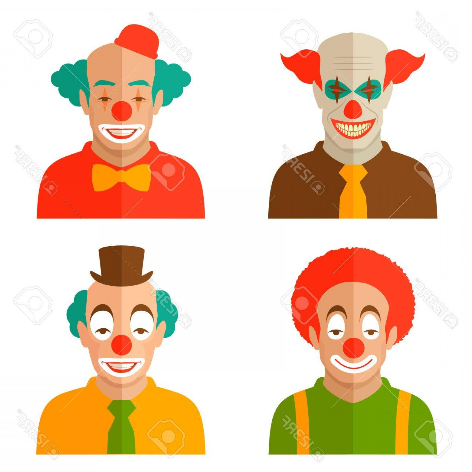 Joker Smile Vector Art: Photostock Vector Funny Cartoon Clown Face Illustration Circus Scary Joker Smile