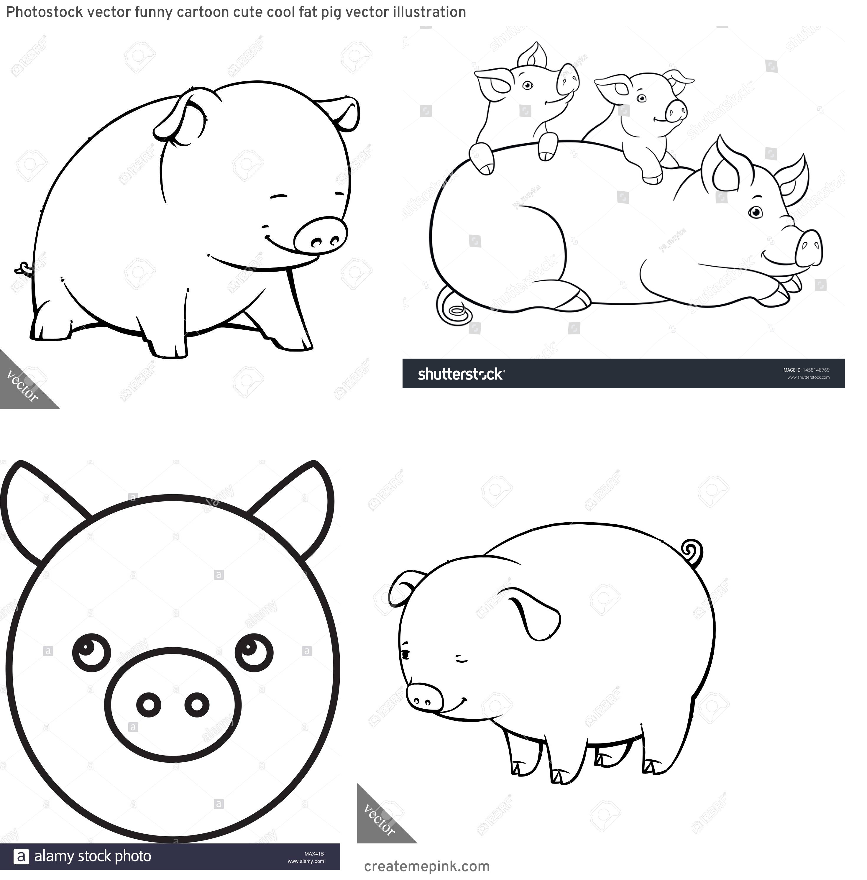 Cute Pig Vector Black And White: Photostock Vector Funny Cartoon Cute Cool Fat Pig Vector Illustration
