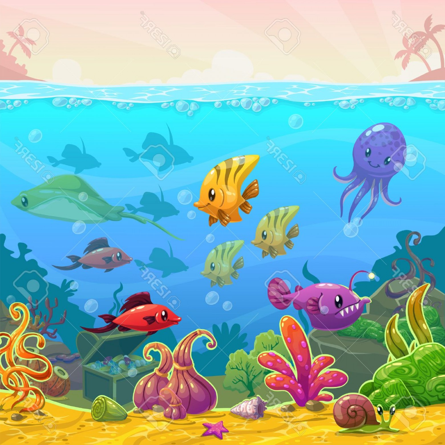 Underwater Sea Vector Art: Photostock Vector Funny Cartoon Vector Underwater Illustration With Sea Animals Square Size