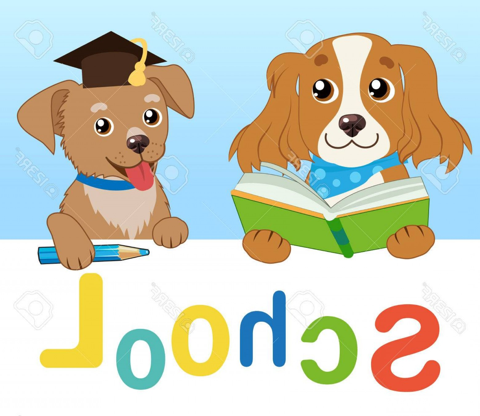 Vector Sayings Joke: Photostock Vector Funny Dogs Read Book On A White Background Cartoon Vector Illustrations Back To School Colored Lette