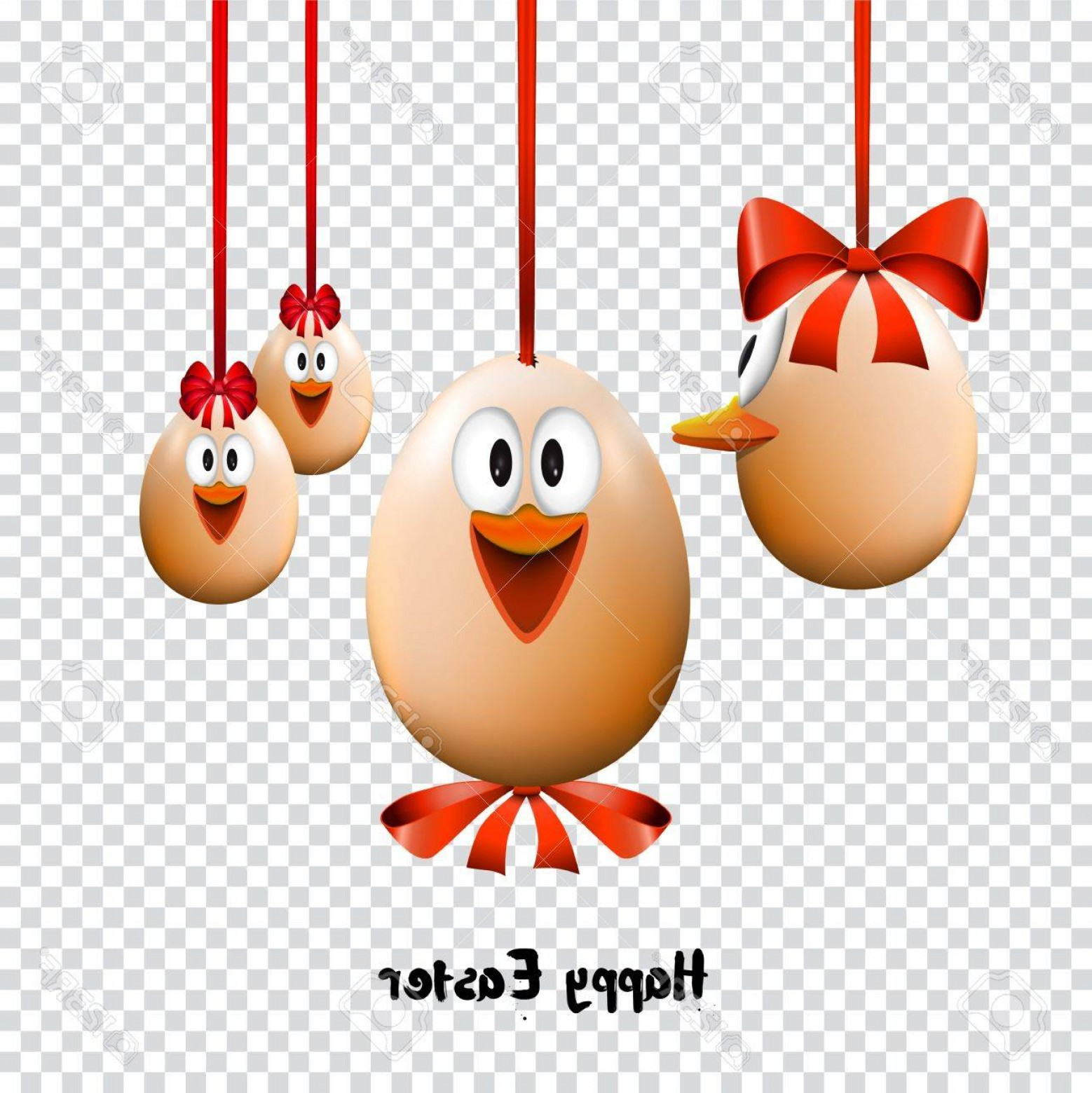 Easter Vector Art No Background: Photostock Vector Funny Easter Eggs With A Bow Happy Easter Card On Transparent Background