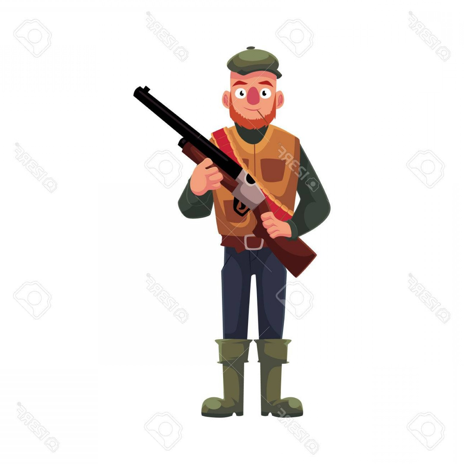 Vector Rifle And Boots: Photostock Vector Funny Male Hunter In Hunting Vest And Rubber Boots Holding A Rifle Cartoon Vector Illustration Isola