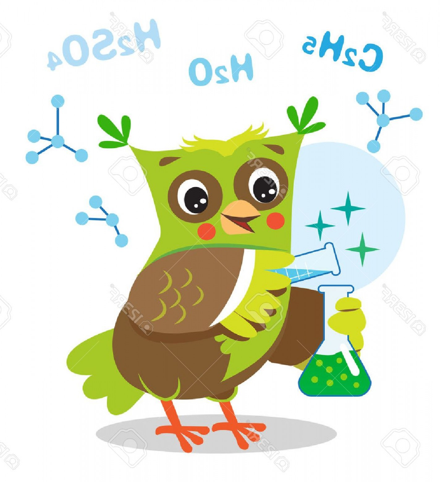 Vector Sayings Joke: Photostock Vector Funny Owl Experimenting With Chemicals Chemical Formula On A White Background Cartoon Vector Illustr