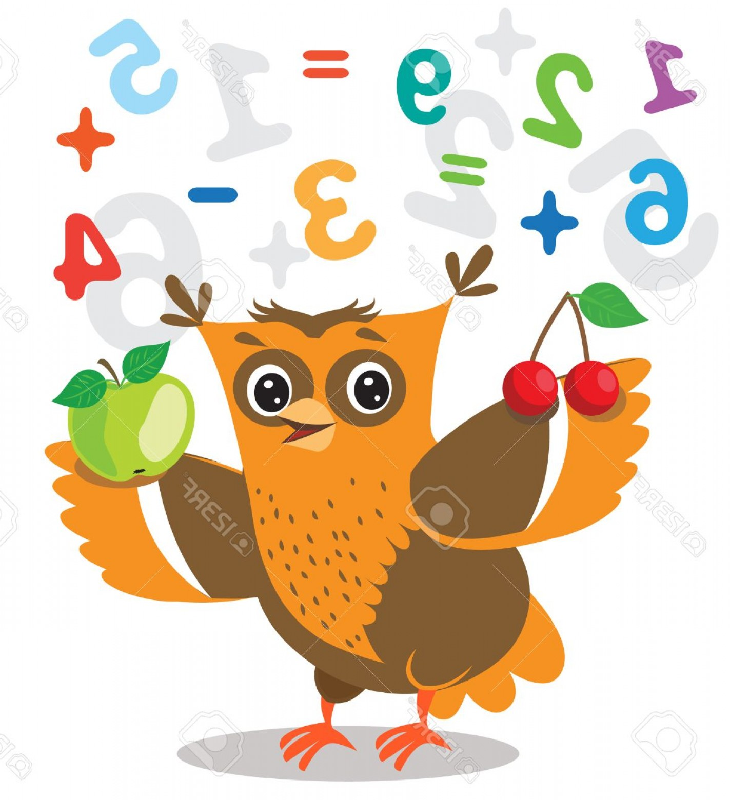 Vector Sayings Joke: Photostock Vector Funny Owl Learn To Count And Numerals On A White Background Cartoon Vector Illustrations Owl Picture