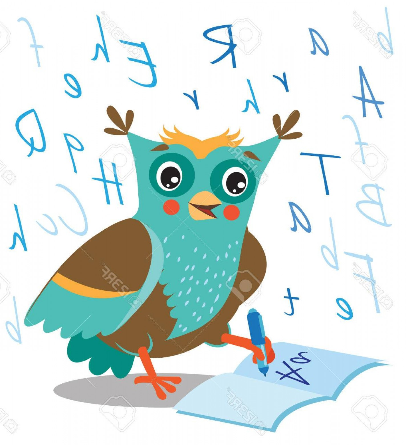 Vector Sayings Joke: Photostock Vector Funny Owl Learn To Write In A Notebook On A White Background Cartoon Vector Illustrations Owl Pictur