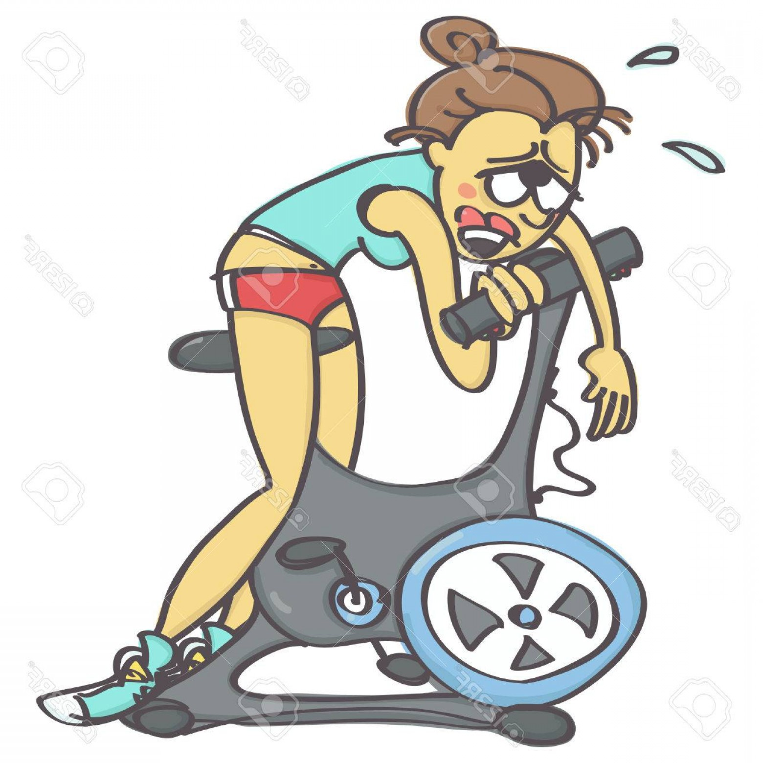 Indoor Cycling Bike Vector: Photostock Vector Funny Vector Cartoon With Exhausted Woman On Stationary Bike