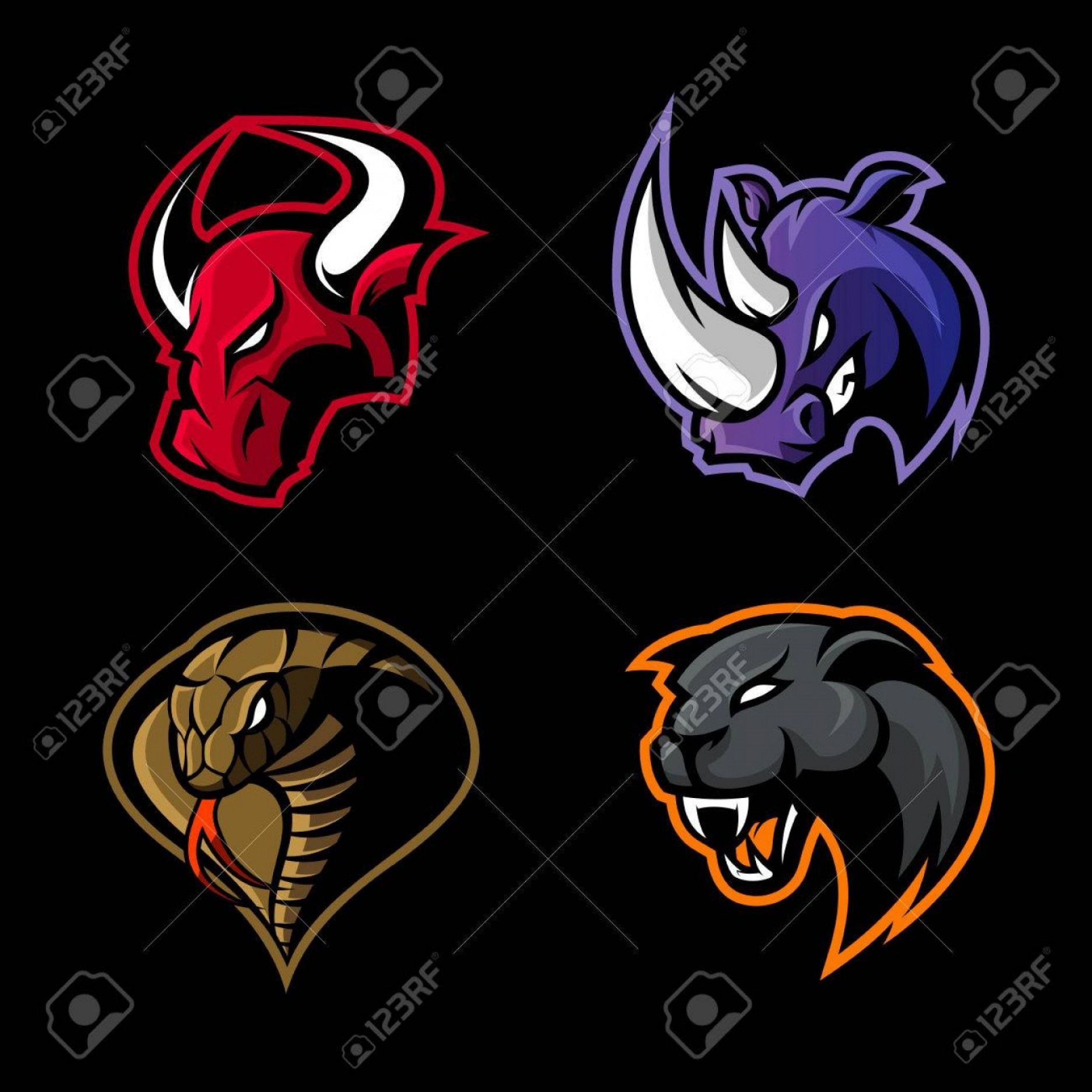 Panther Mascot Vector Sports: Photostock Vector Furious Rhino Bull Cobra And Panther Sport Vector Logo Concept Set Isolated On Black Background Masc