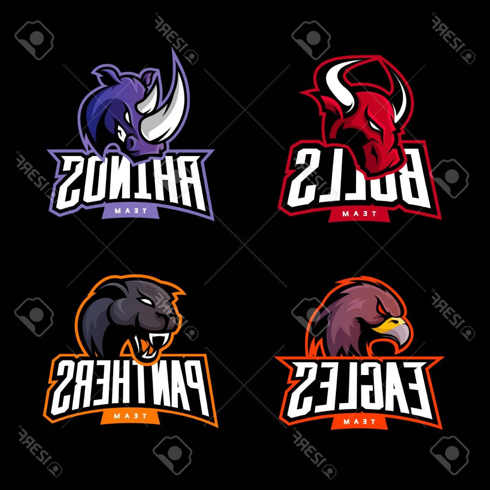 Vector Panther Football: Photostock Vector Furious Rhino Bull Eagle And Panther Sport Vector Logo Concept Set Isolated On Dark Background Web I