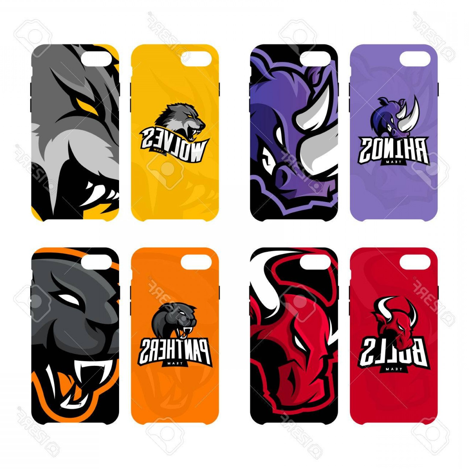 Panther Mascot Vector Sports: Photostock Vector Furious Rhino Wolf Bull And Panther Sport Vector Logo Concept Smart Phone Case Modern Professional T