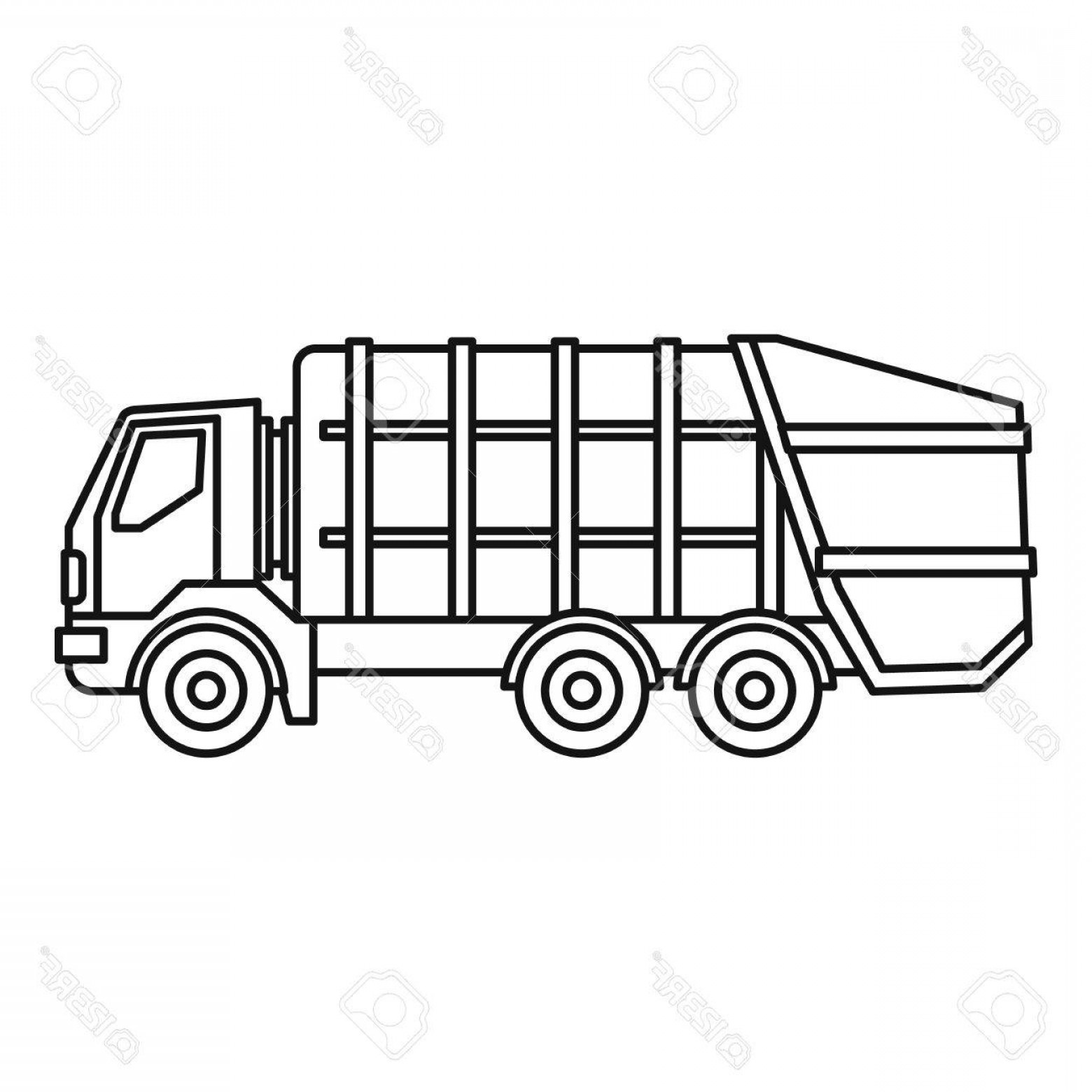 Dump Truck Vector Black And White: Photostock Vector Garbage Truck Icon Outline Illustration Of Garbage Truck Vector Icon For Web