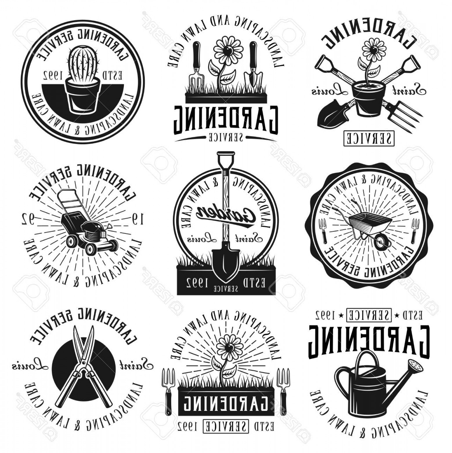 Landscaping Vector Retro: Photostock Vector Gardening Service Landscaping And Lawn Care Set Of Nine Vector Black Emblems Badges Labels Or Logos