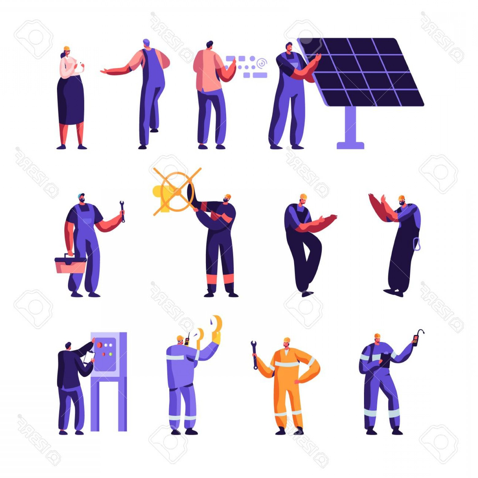 Vector Control Technician: Photostock Vector Gas Industry And Smart Home Maintenance Service Workers Set Engineer Control Pipe Solar Panel Manome