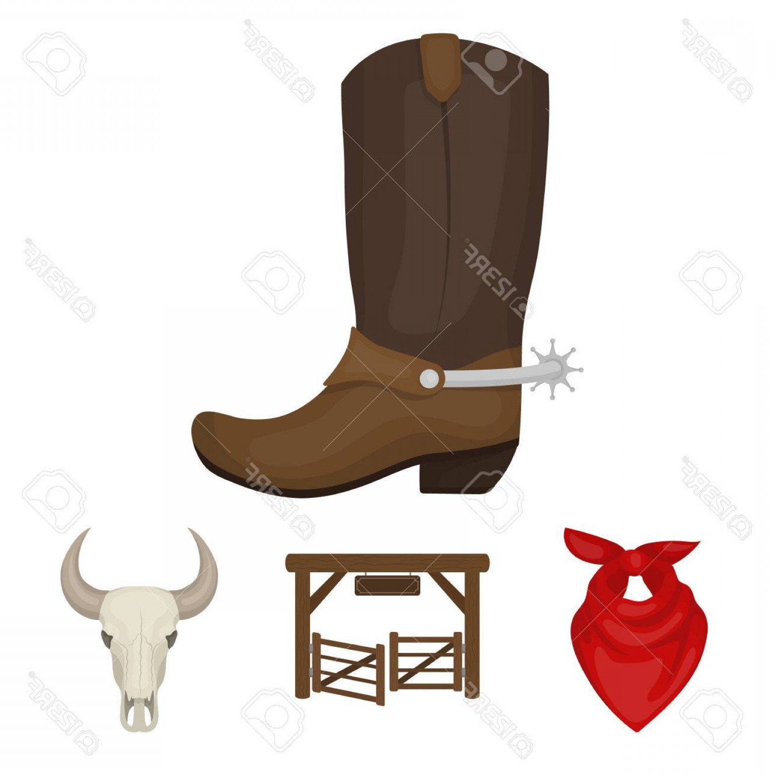 Spurs Clip Art Vector: Photostock Vector Gates A Bull S Skull A Scarf Around His Neck Boots With Spurs Rodeo Set Collection Icons In Cartoon