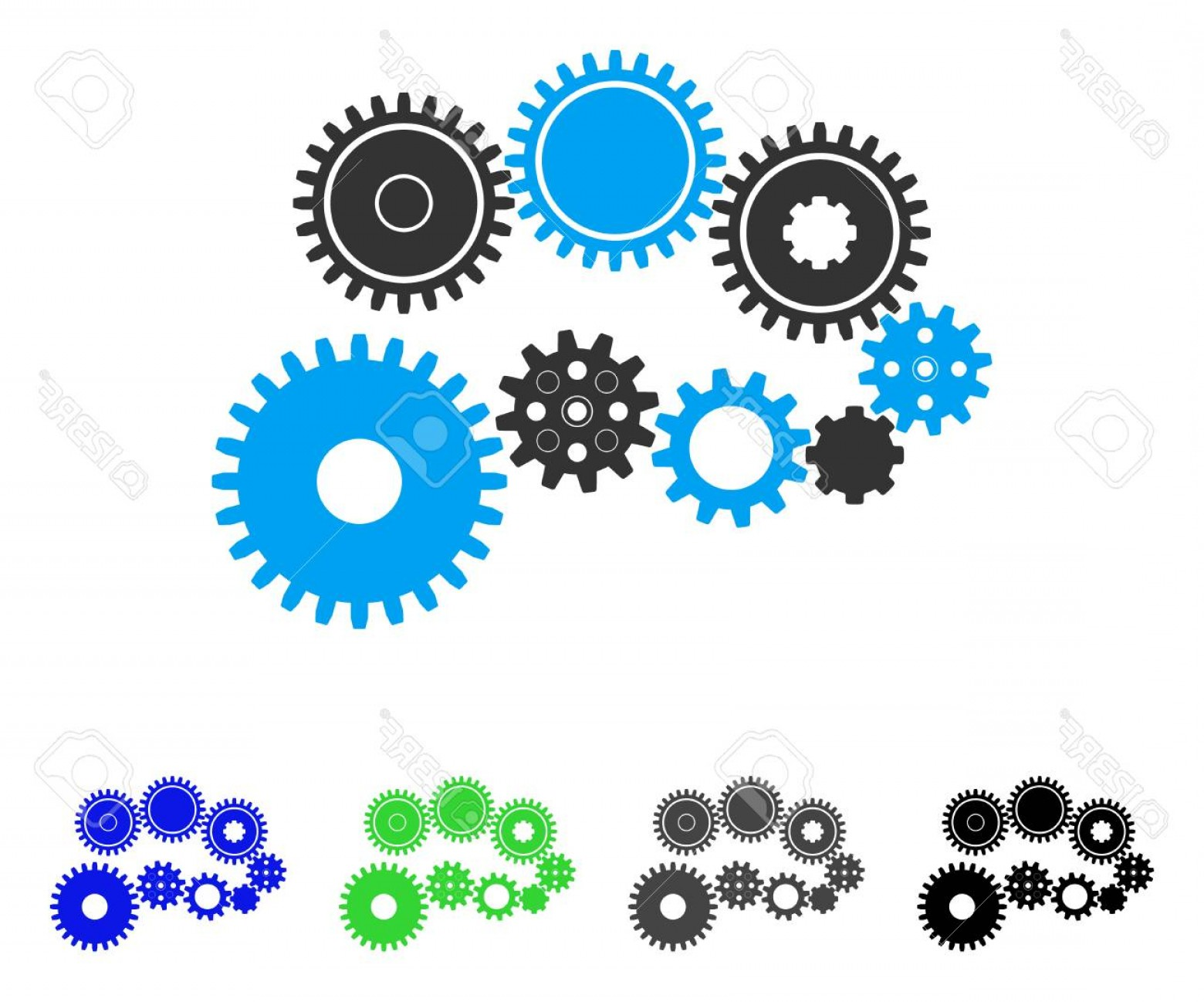 Vector Gear Graphics: Photostock Vector Gear Mechanism Flat Vector Illustration Colored Gear Mechanism Gray Black Blue Green Icon Versions F