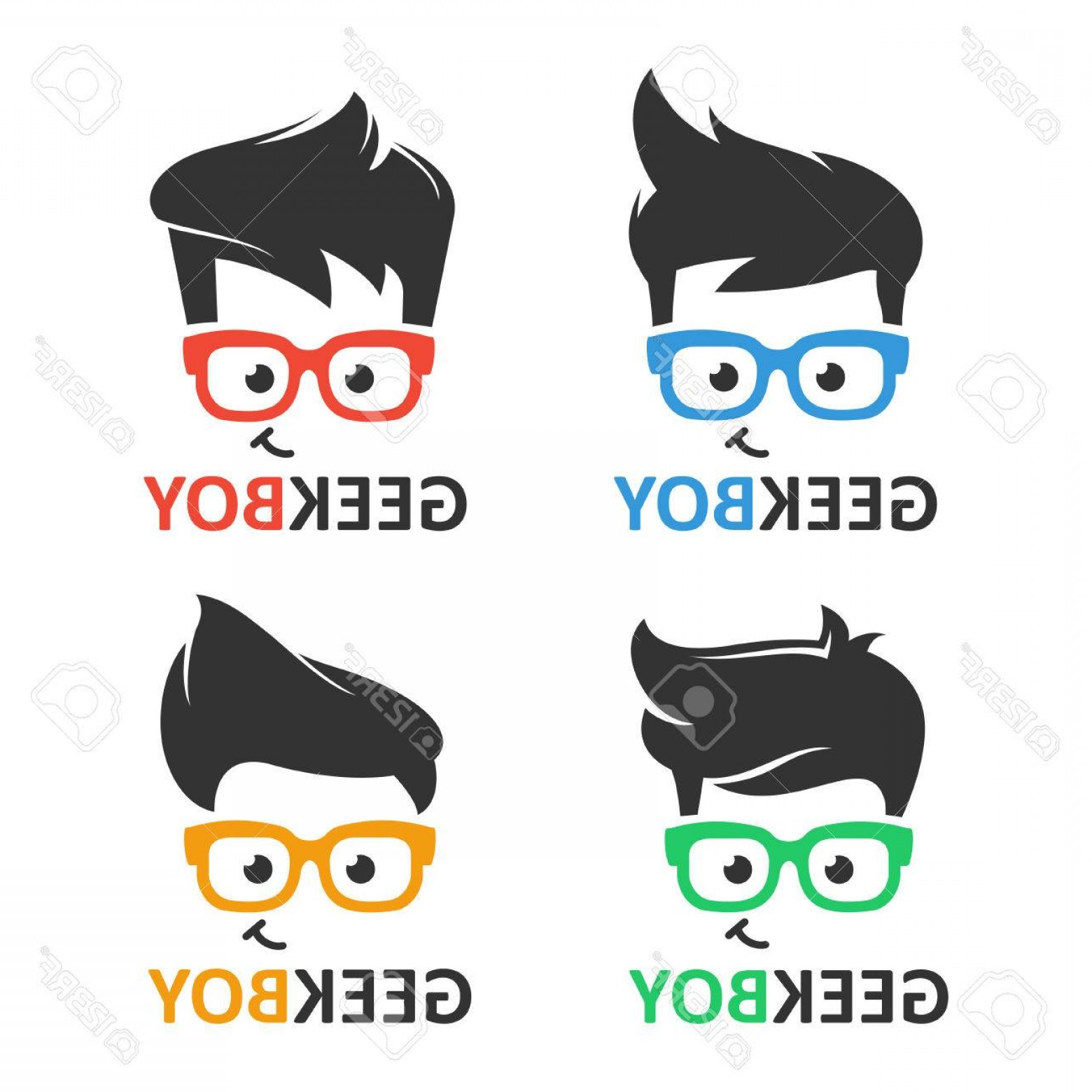 Nerd Vector: Photostock Vector Geek Or Nerd Logo Vector Set Cartoon Face Smart Boy With Glasses Icons For Education Gaming Technolo