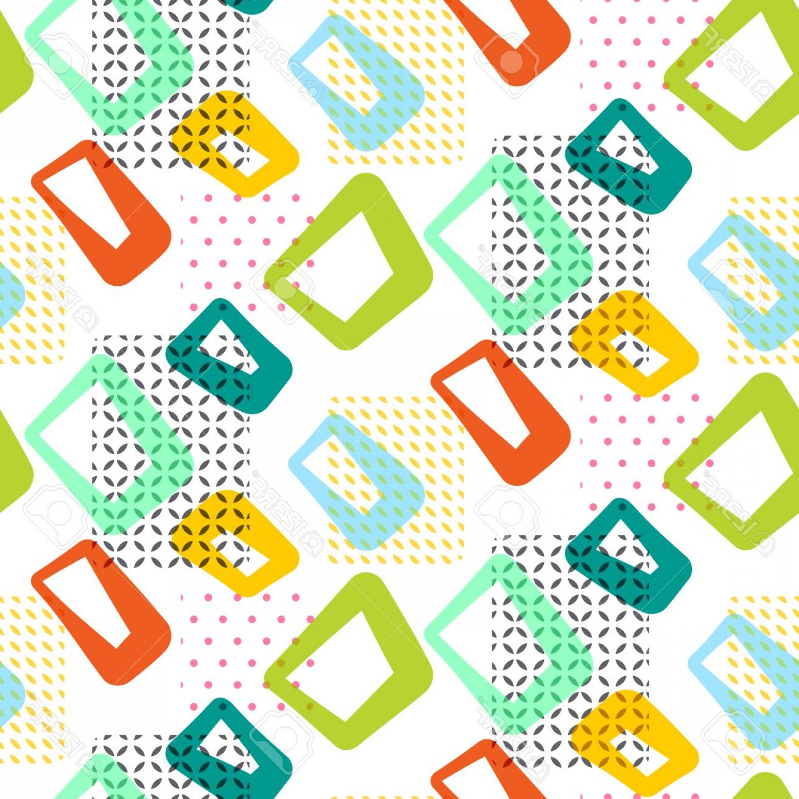 60s Vector: Photostock Vector Geometric Vintage S Seamless Vector Pattern Retro Sixties Yellow Green And Blue Shapes Surface Tex