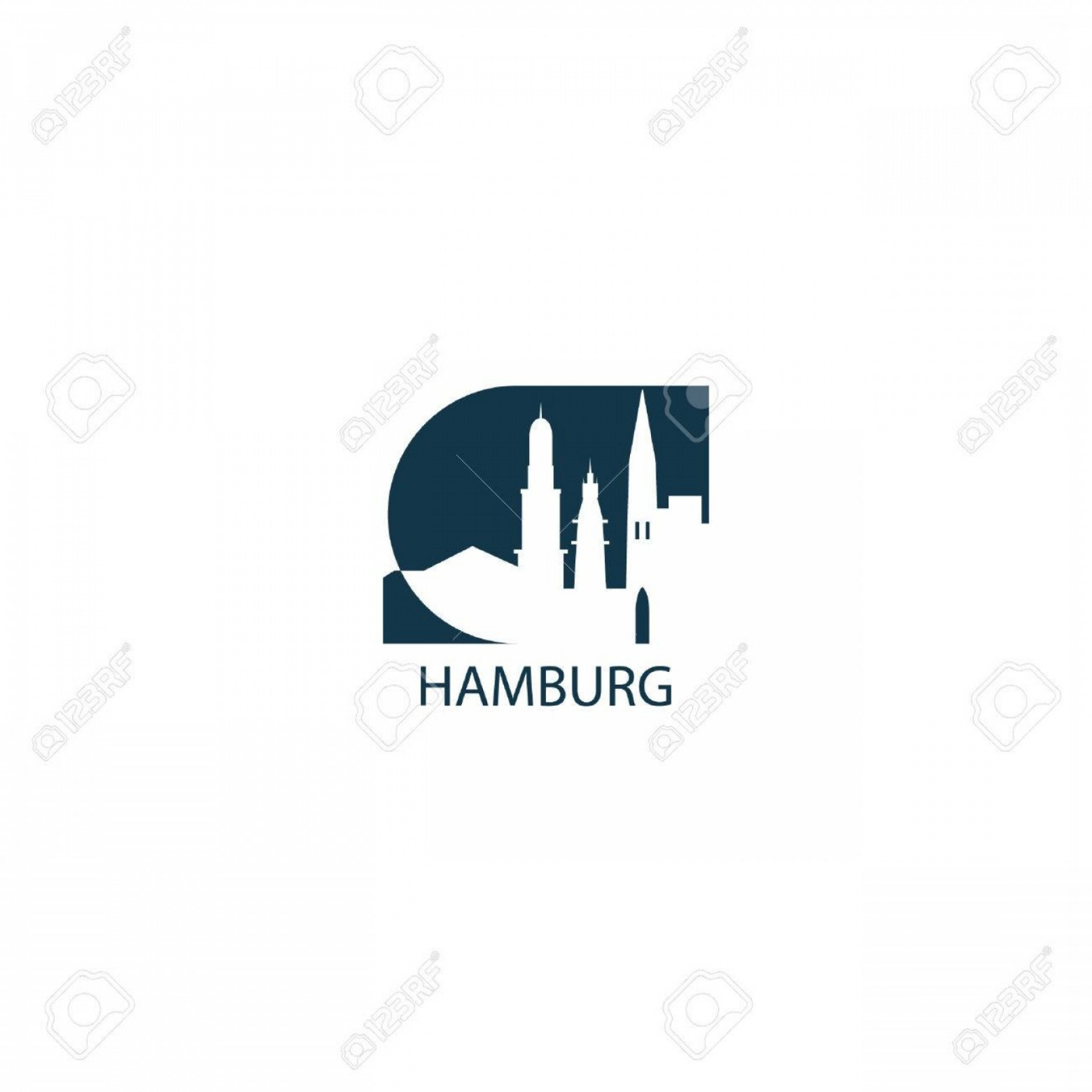 Cool Logo Icon Vector: Photostock Vector Germany Hamburg City Cool Landscape Skyline Panorama Silhouette Vector Logo Icon