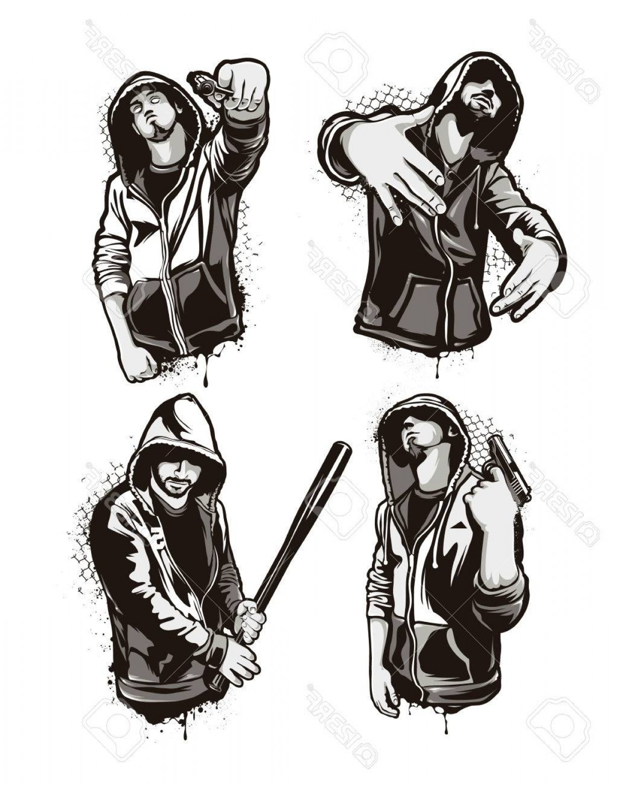 Warrior Vector Art: Photostock Vector Ghetto Warriors Set Of Four Vector Gangster Characters Grunge Style Vector Art