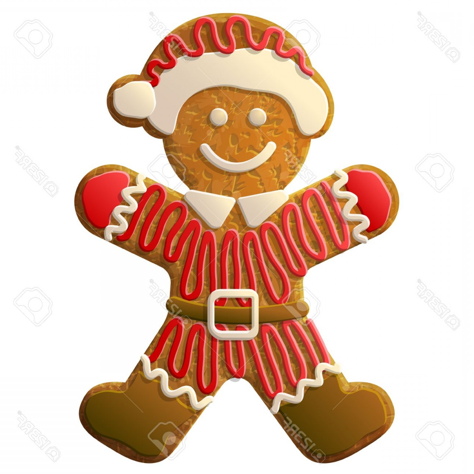 Vectors Holiday Baking: Photostock Vector Gingerbread Man Dressed In Santa Claus Suit Holiday Cookie In Shape Of Man Decorated Colored Icing Q