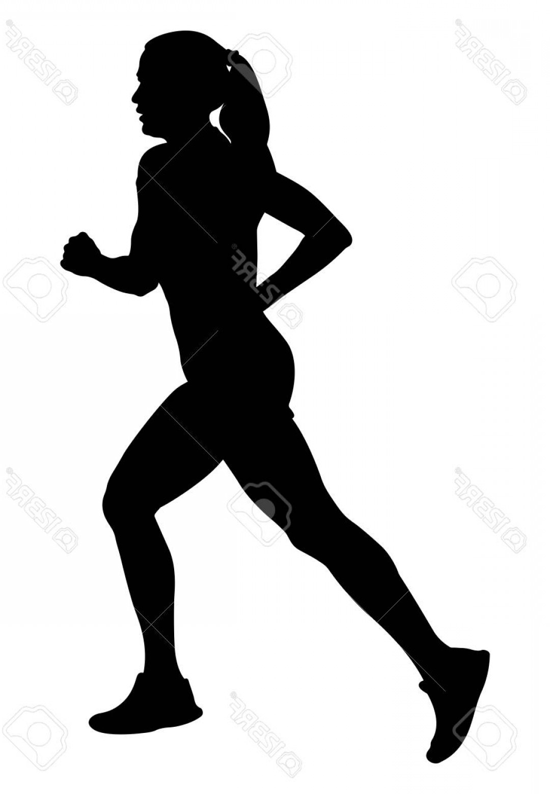 Vector Silhouette Of Girl Running Track: Photostock Vector Girl Athlete Runner Running Side View Black Silhouette