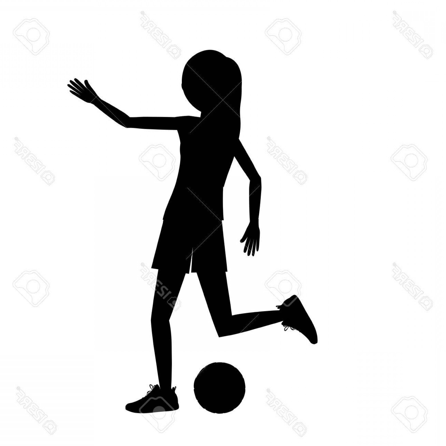 Vector Football Girl: Photostock Vector Girl Playing Soccer Icon Sport Hobby And Training Theme Isolated Design Vector Illustration