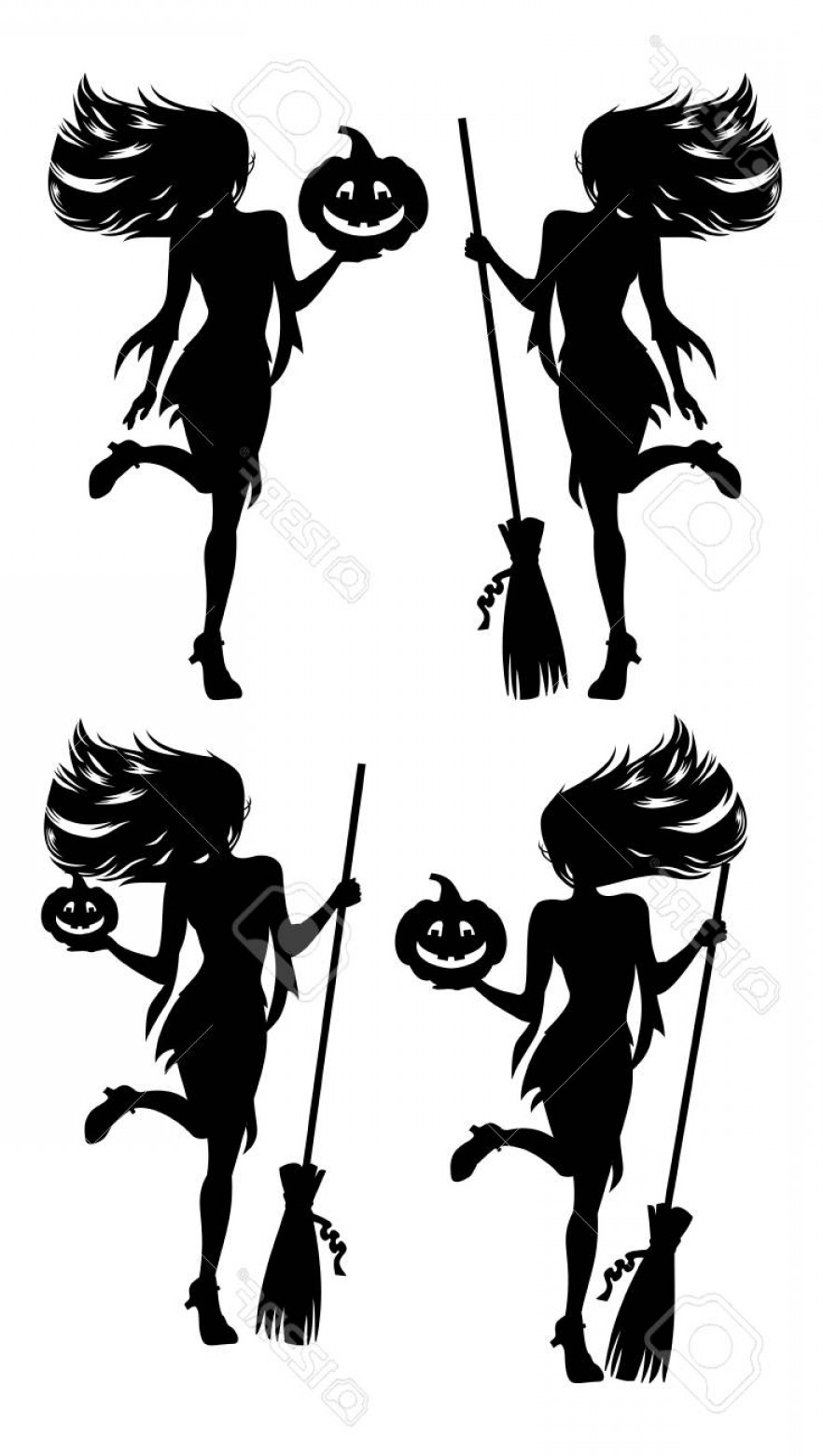 Witch Silhouette Vector: Photostock Vector Girl With A Broom In Witch Costume Halloween Witch Silhouette Vector Clip Art