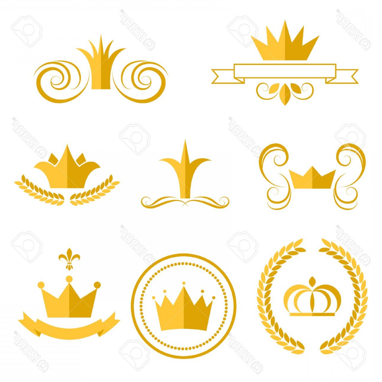 Crown Vector Clip Art: Photostock Vector Gold Crown Logos And Badges Clip Art Vector Set King Or Queen Crowns Flat Style Icons
