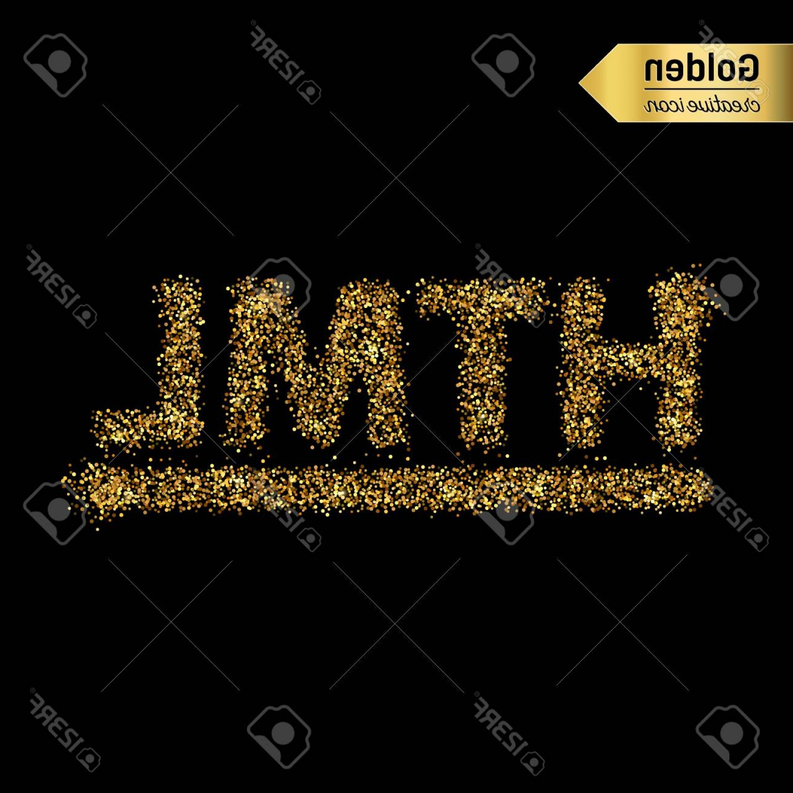 Bling Logo Vector: Photostock Vector Gold Glitter Vector Icon Of Html Symbol Isolated On Background Art Creative Concept Illustration For